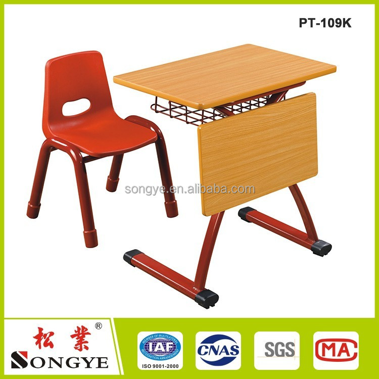 Cheap school furniture/School single student desk and chair with iron/plastic drawer