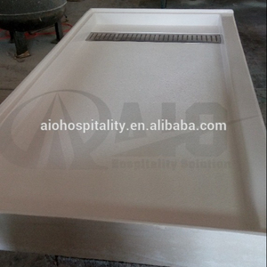 Cultured Marble 30' 'x 60'' Rectangle Trench Drain Shower Pan with Off-set Drain for US Hotel Bathroom