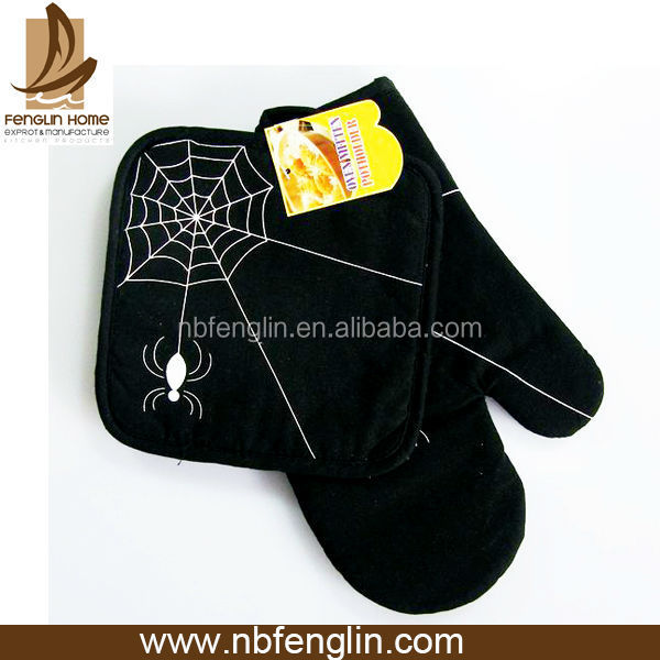 Best Selling Spider Printed Black Cotton Oven Mitt Cheap Oven Glove And Pot Holder
