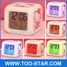 Too-Star Kids' Room Clock Hello Kitty Digital Alarm Clock With Soothing Glow LED Lights And Thermometer