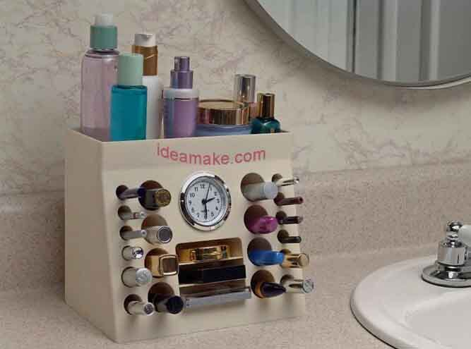 Makeup Organizer with Clock plastic organizer home organizer new as seen on TV 2015