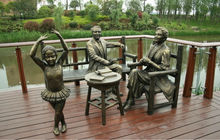 Outdoor Modern Large Best Casting Copper family dancing female Figure Sculptures for sale