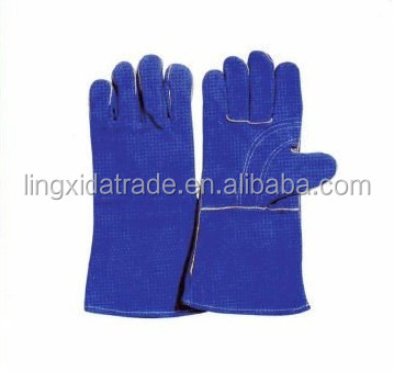 Blue safety cow grain leather welding gloves for working