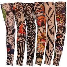 Tattoo Printed Sleeves Cycling Arm Sleeves Sun UV Protective Arm Warmers for Outdoor