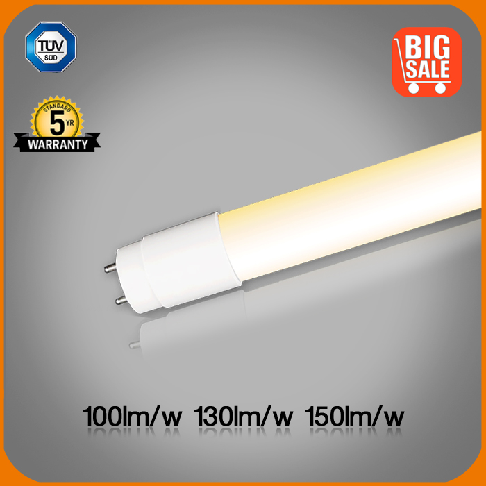 TUV/CE 120-150lm/w glass T8 LED tube with filming explosion proof 9w 18w 24w