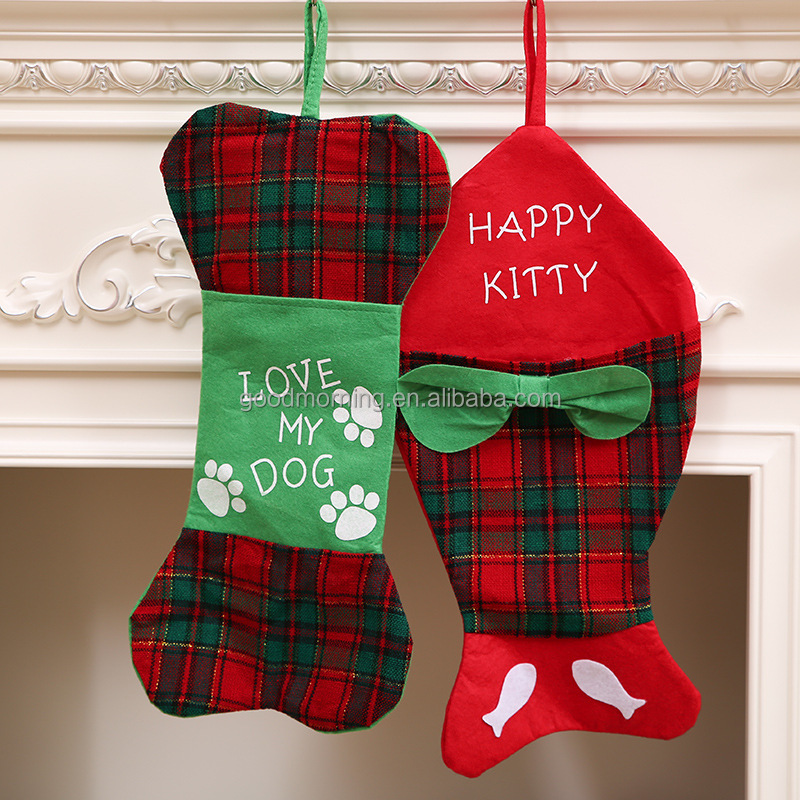 Personalized Monogram Bone or Fish Christmas Stockings