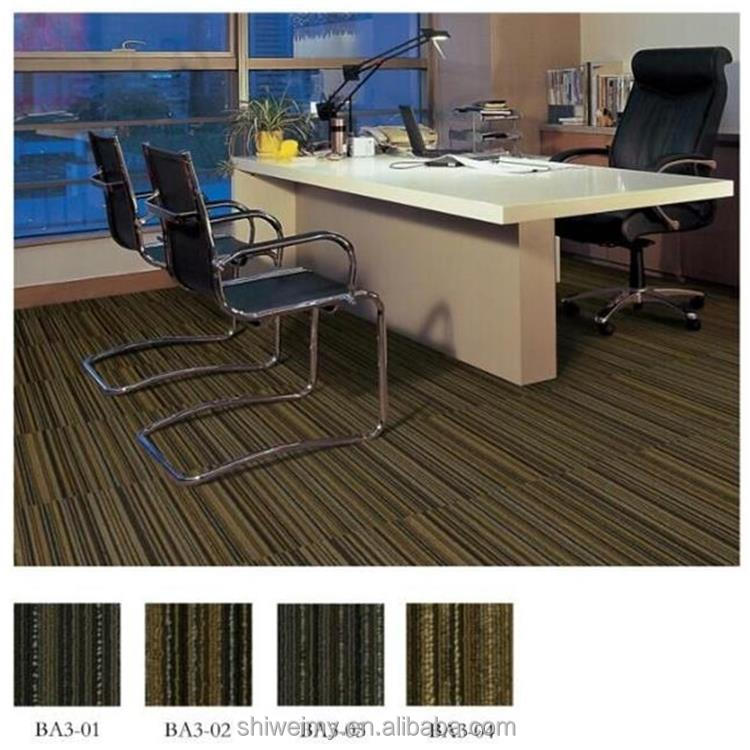 Modern dark colored tufted loop stripe PP carpet tile