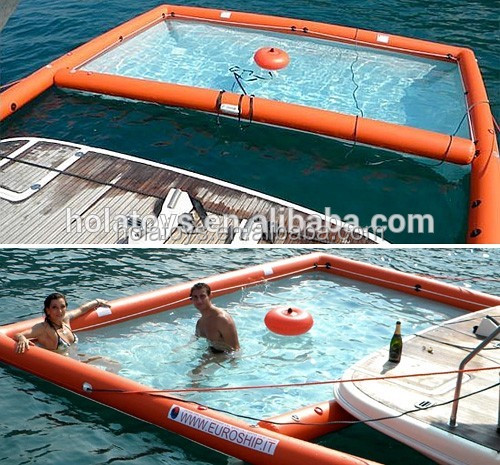 Hola blue floating inflatable boat swimming pool for boat