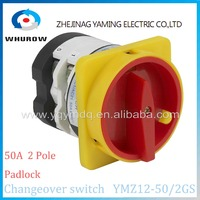 Factory Rotary switch 2 position OFF-ON YMZ12-50/2GS padlock universal manual electrical changeover cam switch 50A 2 pole