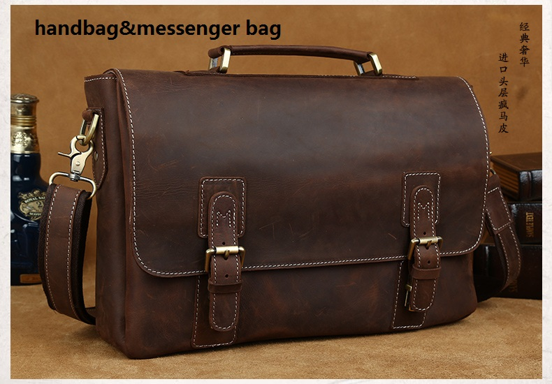 Wholesale custom mens leather computer handbags laptop man leather bags in china