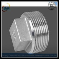 round shape threaded stainless steel square head plug