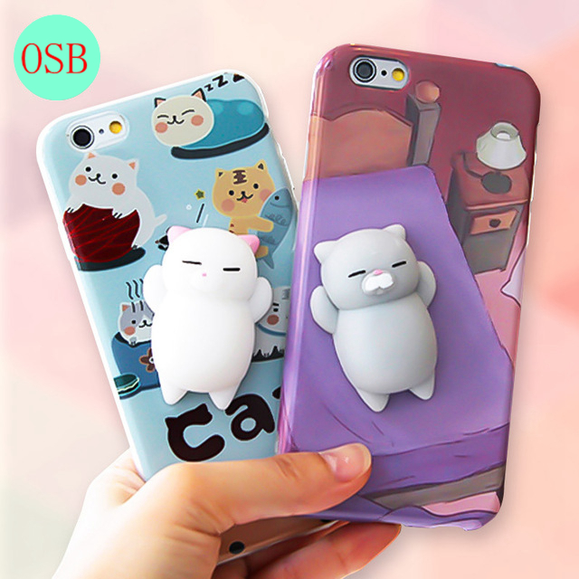 Squishy Phone Case for iPhone 6 6S 6 plus 3D Cute Soft Silicone Squishy Cat Fundas for iPhone 7 7 plus Cover Animal Kitty Coque
