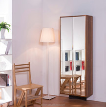 High qualiy creative large shoes storage space full length mirrored wooden shoe cabinet