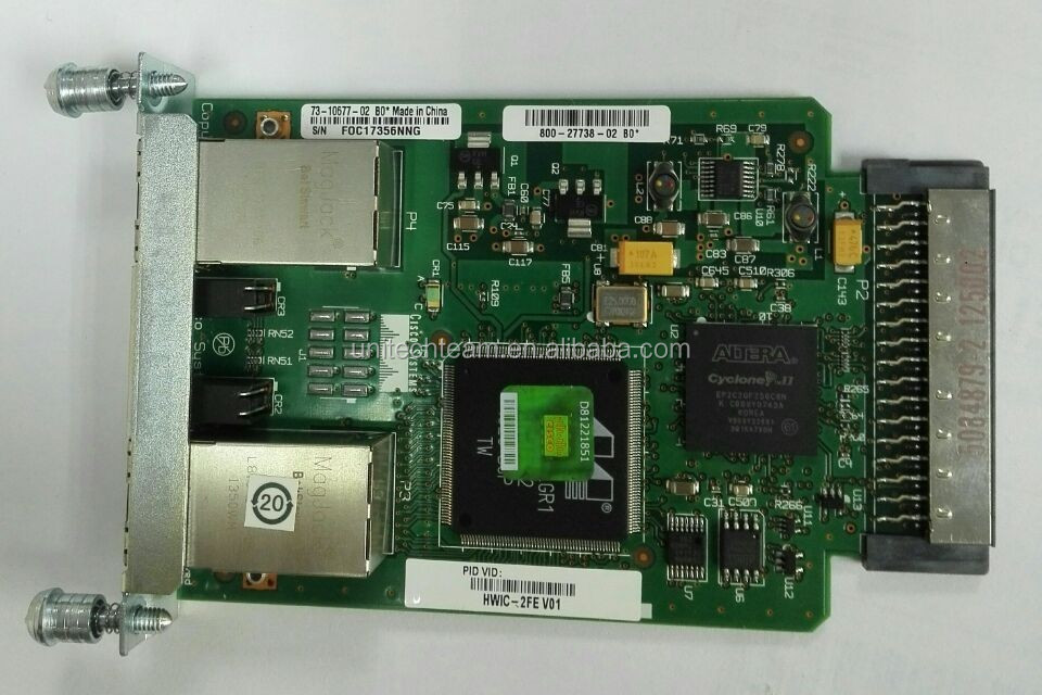 The Layer 3 Cisco 1- and 2-Port Fast Ethernet High-Speed WAN interface cards HWIC-2FE
