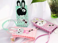 2013 beautiful fashion cheap happy rabbit soft silicone cellphone cover for Iphone 5