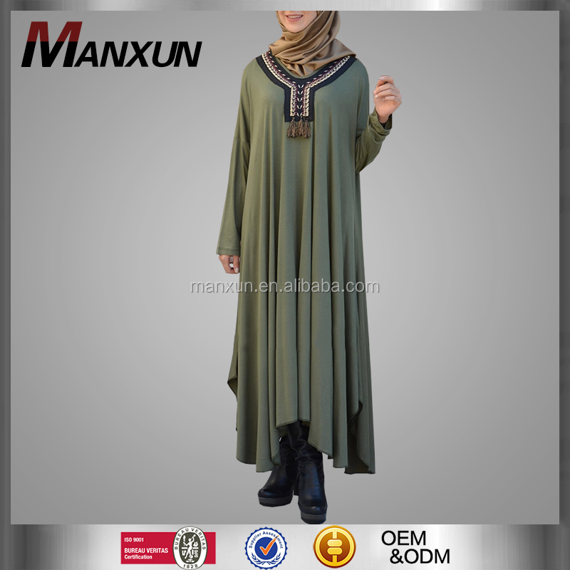 Latest Burqa Designs Muslimah Cotton Material Loose Dress Turkey Caftan Dress Jilbab Hijab Abaya