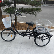 adult tricycle/three wheel bicycle with folding basket for elderly