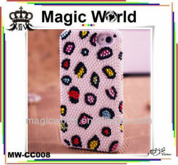 zebra luxury high quality hard pc beaded cell phone cover for iphone 5s