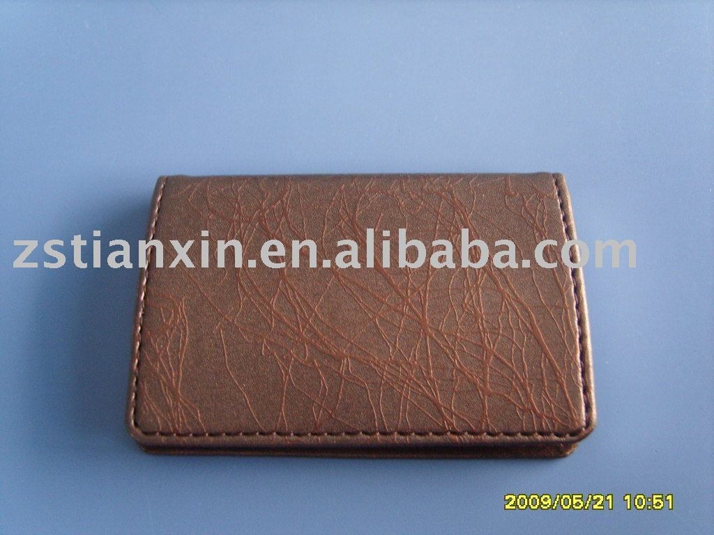 leather business card holder/ women name card case / leather brown id card holder