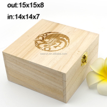plain wood jewelry gift box with engraving logo