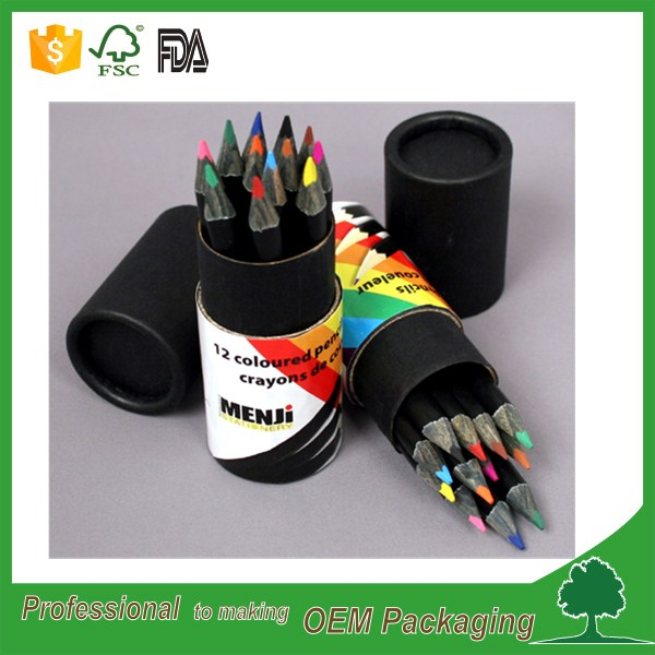 Custom logo recycle round pencil paper tube pen case wholesale