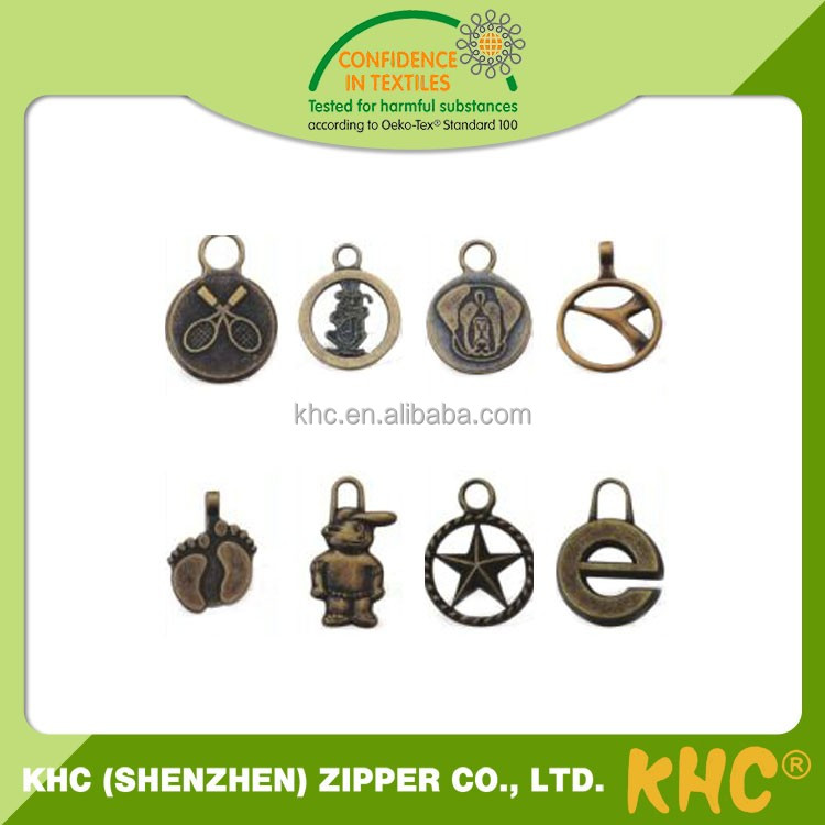 Low Price Custom Clothing Copper Color Customized Logo Zipper Puller For Bags Clothing