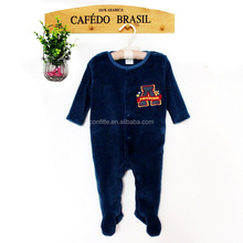 front flat opening boy infant velvet fabric romper with chest letter printed