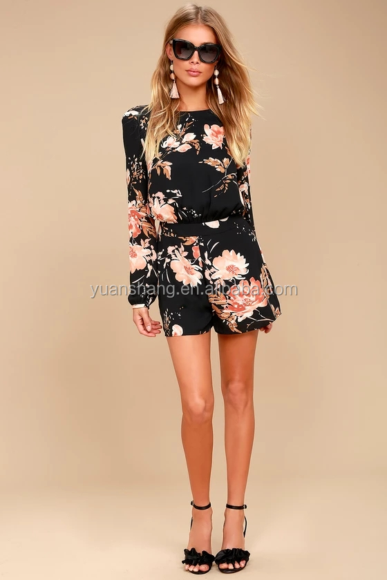 2017 Black Floral Print Backless Summer Women Romper