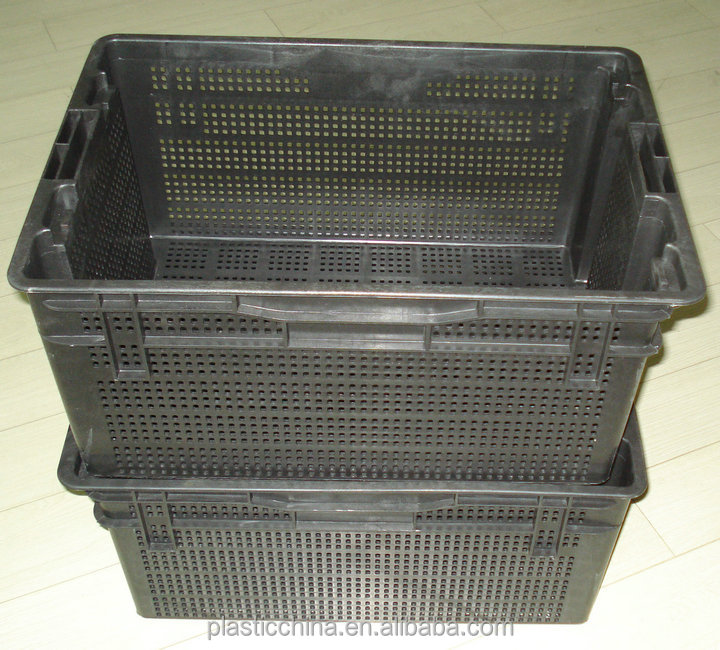 Fruit vegetable crate ,storage stackable and nesting plastic box