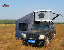 Flat hard shell roof top tent for car