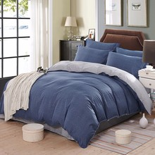 Pure Blue Theme Bed Set With Dark Blue And Gray Simple Bedsheet Cheap