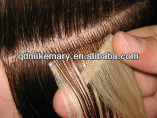 Human hair skin weft tape on hair extensions