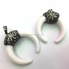 M603224102 Fashion Pendant Crescent Jewelry Tibetan Pave Rhinestone Horn Pendant For Necklace