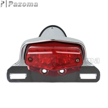 Lucas Style Tail Light LED Aluminum License Plate Plastic Lens Motorcycle Taillamp For Cafe Racer