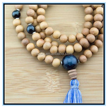 wood sone mala beads long tassel necklace wholesale