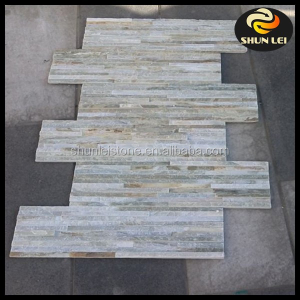 Natural Thin Stacked stone wall cladding 3D Rock Panel Tile veneer