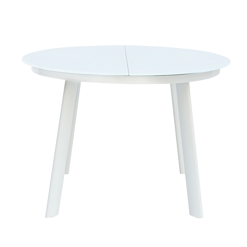 Round Small Glass + Natural Wooden Folding Dining Table