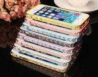 For iPhone 5 5s Luxury Diamond Crystal Bling Metal Aluminum Frame Bumper Case Cover