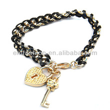 Fashion New Design Lovely Heart Key Charms Gold Chain Friendship Bracelet