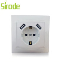 China factory CE approved Wall Eu Schuko Socket with USB Charger Germany socket 2.1A fast phone charging