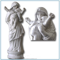 natural white stone mother and baby statue