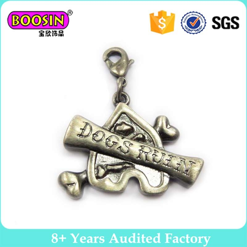 Antique bronze vintage custom logo skull charm for men