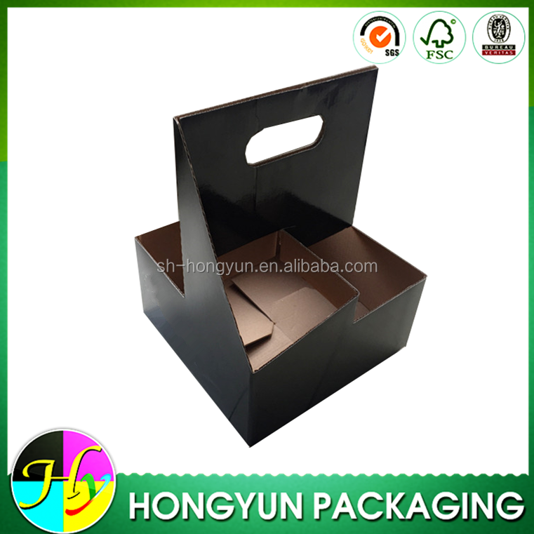 custom design black corrugated paper 3 pack bottle carrier
