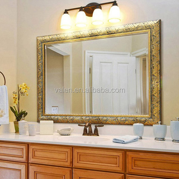 "48""x36"" China custom gold decorative wall bathroom foam framed smart mirror"
