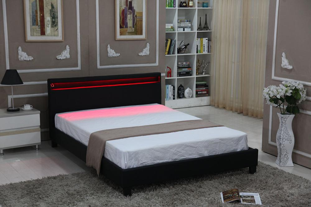 Chinese latest double pu leather bed designs bedroom furnitures