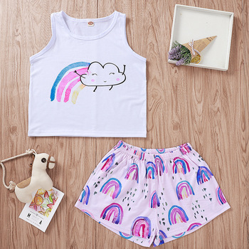 2019 new boutique outfit girls clothing for girls rainbow print sets wholesale