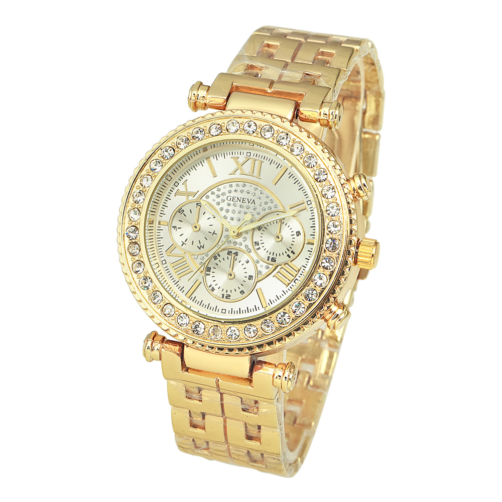 New Brand Designer Classic Fashion Quartz Women's Diamond Alloy Band Bracelet Watch