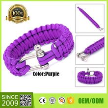 2017 Wholesale Nautical Shackle Rope Men Bracelet Custom Nylon Silk Thin Cord Bracelet