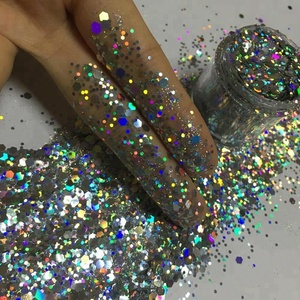 2018 wholesale bulk holographic silver glitter powder,glitter polyester,PET craft chunky hologram glitter sequin for Christmas