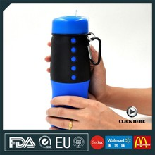 Manufacture price custom logo eco friendly Silicone 650ml 22OZ with portable sports Carabiner wholesale collapsible water bottle